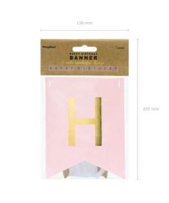 Fahnenkette HAPPY BIRTHDAY, Pappe rosa, Schrift gold, 15 x 175 cm, Packung