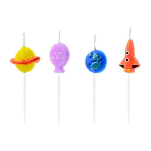 Form-Kerzenstecker ''Space'', Rakete, Erde, Saturn, Ballon, 4er Pack, ca. 2-3 cm