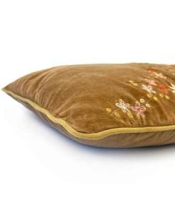 Kissen ''Lieke'', Bezug inklusive Innenkissen, kamelfarben, Samt, 100% Baumwolle-Velour, Detail