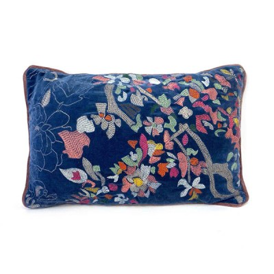 Kissen ''Tess'', Bezug inklusive Innenkissen, blau, Samt, 100% Baumwolle-Velour, 35 x 50cm