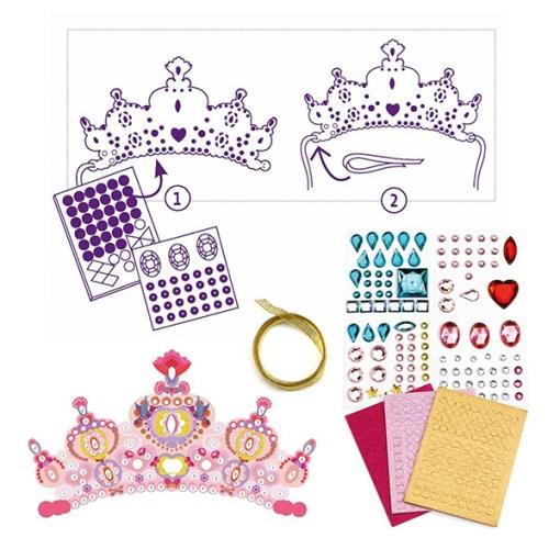 Krone selbst machen, Prinzessin, Diadem, Krone m. Steinen, Aufklebern, Schablonen, 26 x 12 cm, Anleitung