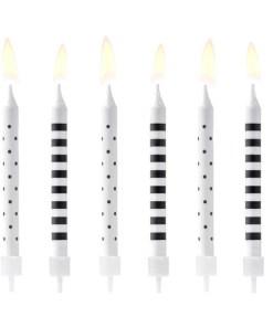 Kuchenkerzen mit Stecker, schwarz-weiss, Punkte + Querstreifen sort., 6er Pack, L 6,5 cm