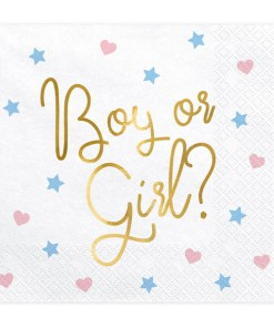 Servietten ''Boy or Girl'', weiss, metallic gold, Sterne, Herzen rosa, hellblau, 20er Pack, 33 x 33 cm