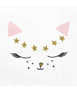 Servietten ''Kitty'', weiss, Katzengesicht rosa-gold-schwarz, 20er Pack, 33 x 33cm