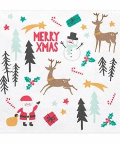 Servietten ''MERRY CHRISTMAS'', weiss, bunt, Nikolaus, Schneemann, Rehe, 33 x 33cm
