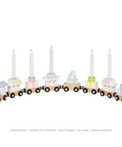 Geburtstags-Zug, Holz pastellbunt, Lok, 7 Anhaenger, austauschbare Zahlen 1 - 6, L 56,5 cm