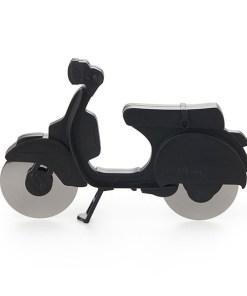 Pizzaschneider Motorroller, ABS-Kunststoff schwarz, Edelstahl-Rollmesser, Aufstellstaender, 11,5x17,5x1,7 cm