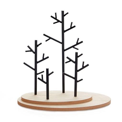 Schmuckstaender Autumn, Holzsockel mit 4 Metall-Baeumen schwarz, 29,5x25x16,5 cm