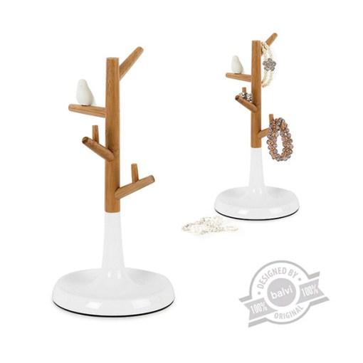 Schmuckstaender Baeumchen mit Vogel, Bambus, Kunststoff weiss, 28 x 13,7 x 13,7 cm