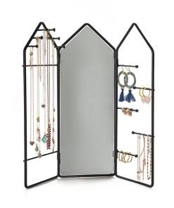 Schmuckstaender House, 3 Teile mit Scharnieren, Spiegel, Metall schwarz, 29,5x32,5x2 cm, Beispielbild