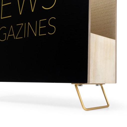 Zeitungsstaender News, Holz schwarz, innen natur, 2 Griffloecher, MDF-Holz, 32x38x9 cm, Detail