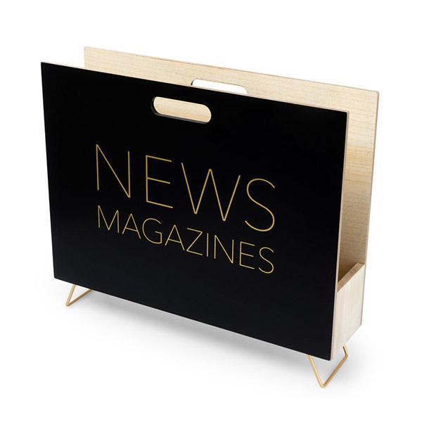 Zeitungsstaender News, Holz schwarz, innen natur, 2 Griffloecher, MDF-Holz, 32x38x9 cm