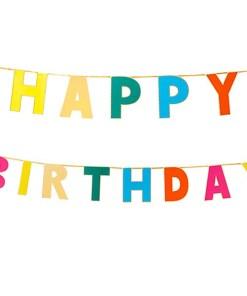 Girlande, ''Happy Birthday bunt'', gelb-blau-gold-pink-orange, 3meter lang, uebereinander gehangen