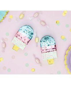 Mini-Pinata Eis am Stiel, Pappe, blau, rosa, irrisierend, 6 x 11,5 x 3,5, Dekobeispiel