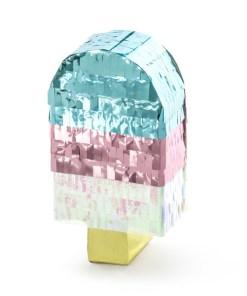 Mini-Pinata Eis am Stiel, Pappe, blau, rosa, irrisierend, 6 x 11,5 x 3,5
