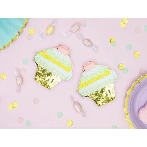Mini-Pinata Muffin, Pappe, Pastell, gold, 9 x 10 x 3,5, Dekobeispiel