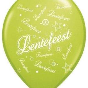 Ballonnen Lentefeest groen/wit 50 stuks