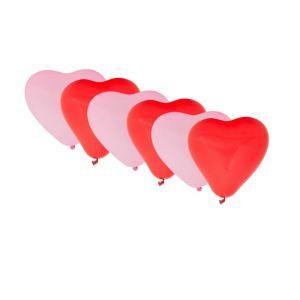 Ballonnen hartvorm - rood/roze - 6 stuks