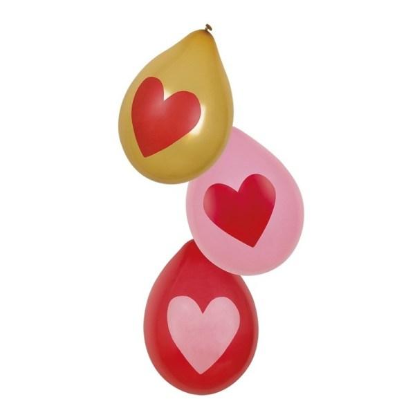 Valentijn ballonnen rood, roze en goud 6 stuks