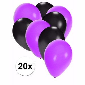 Zwart en paarse Halloween ballonnen 20 stuks