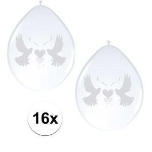 16x Witte duifjes huwelijks ballonnen