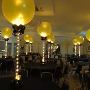 Großer Spiegelballon 65 cm mit Lichterkette 150 cm