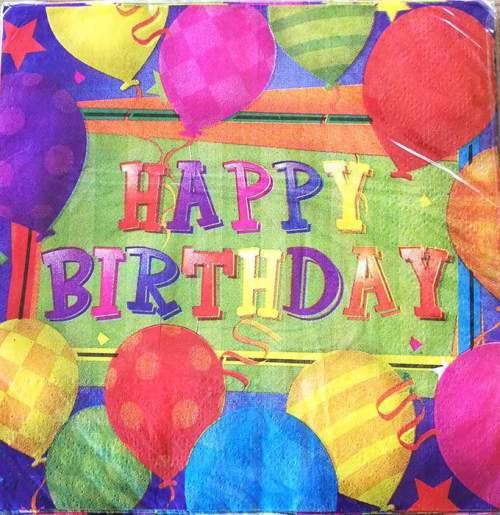 Χαρτοπετσέτες Happy Bday μπαλόνια (20 τεμ)