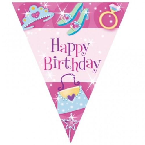 Σημαιάκια τριγωνικά 'Happy Birthday' Princess