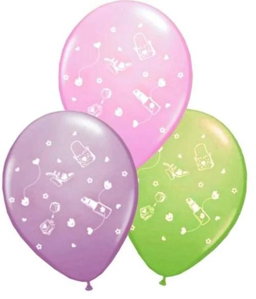 Τυπωμένο μπαλόνι glamour girl ροζ-μωβ-λαχανί (1 τεμ)