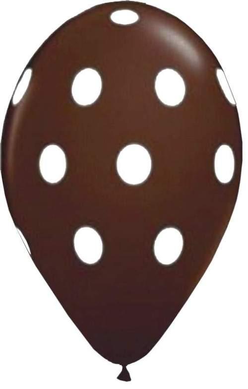 """12"""" Μπαλόνι σοκολατί με λευκό πουά"""