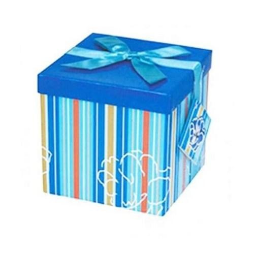 Μπλε Κουτι δώρου με ρίγες
