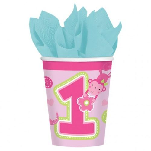 Ποτήρια πάρτυ χάρτινα 'πρώτα γενέθλια' κοριτσάκι (8 τεμ)