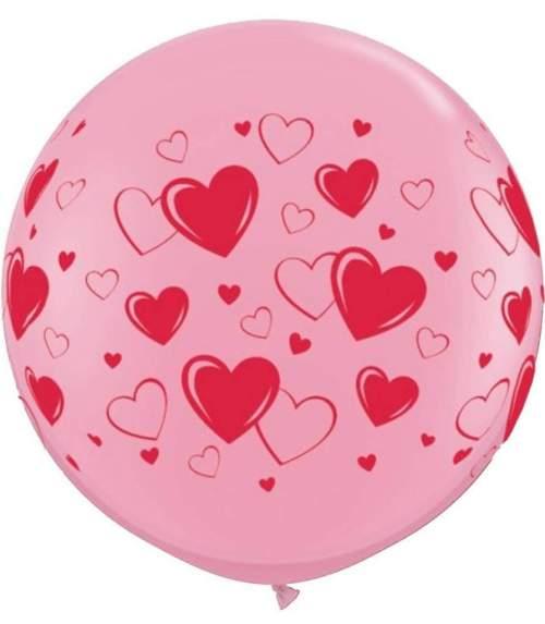 """36"""" Μπαλόνι τυπωμένο Ροζ με καρδιές"""