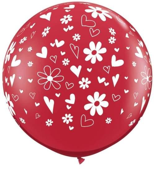 """36"""" Μπαλόνι τυπωμένο Κόκκινο καρδιές & λουλούδια"""