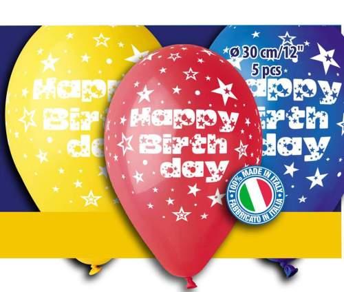 Μπαλόνια τυπωμένα 'Happy birthday' διάφορα χρώματα (5 τεμ)