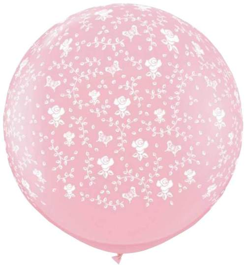 Τεράστιο μπαλόνι τυπωμένο Λουλούδια ροζ