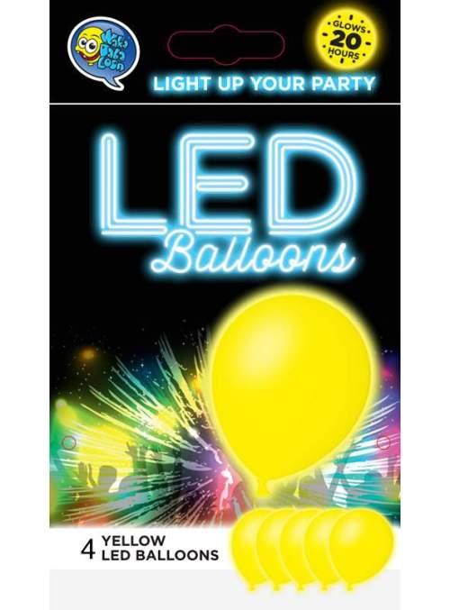"""12"""" Κίτρινο Μπαλόνι με φωτάκι LED (4 τεμ)"""