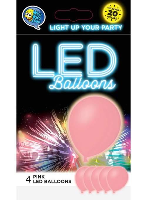 """12"""" Ροζ Μπαλόνι με φωτάκι LED (4 τεμ)"""