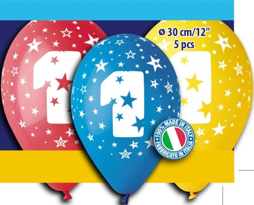 Μπαλόνια τυπωμένα για γενέθλια Νούμερο 1 (5 τεμ)