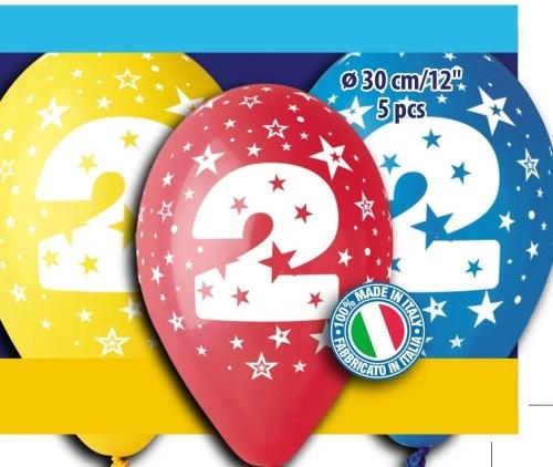 Μπαλόνια τυπωμένα για γενέθλια Νούμερο 2 (5 τεμ)