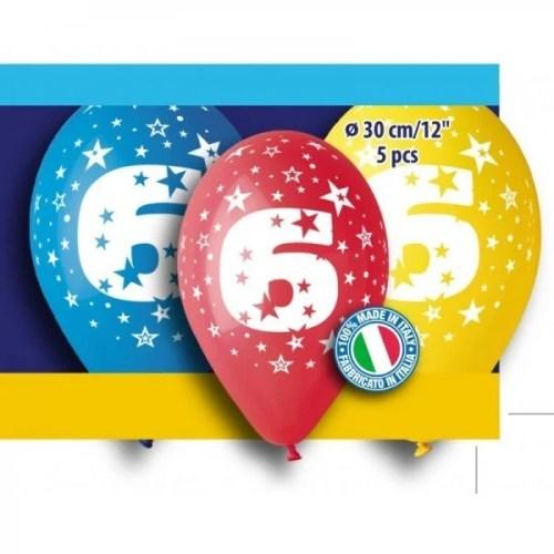 Μπαλόνια τυπωμένα για γενέθλια Νούμερο 6 (5 τεμ)