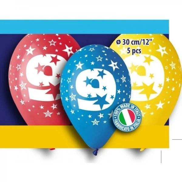 """12"""" Μπαλόνι γενέθλια Νο 9 (5 τεμ)"""
