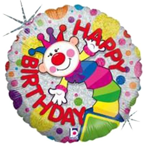 Μπαλόνι για γενέθλια Κλόουν που ιριδίζει 'Happy Birthday'