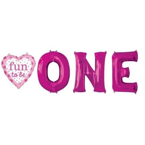 Μπαλόνια για γενέθλια Fun One φούξια (4 τεμ)