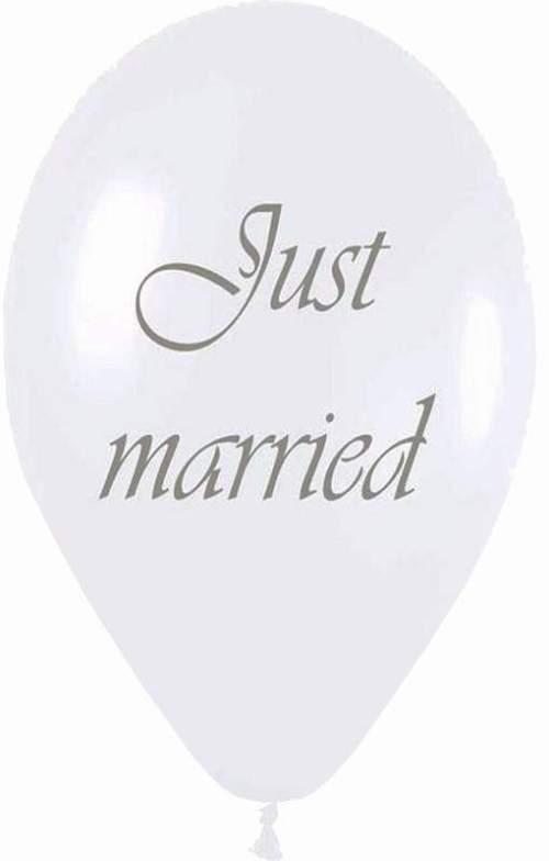 """12"""" Μπαλόνι τυπωμένο λευκό περλέ Just Married"""