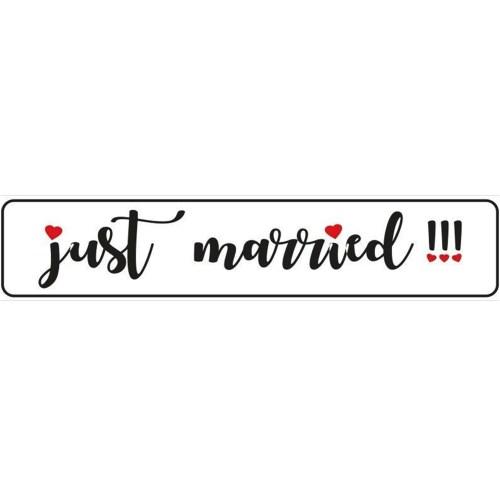 Πινακίδα αυτοκινήτου γάμου Just Married