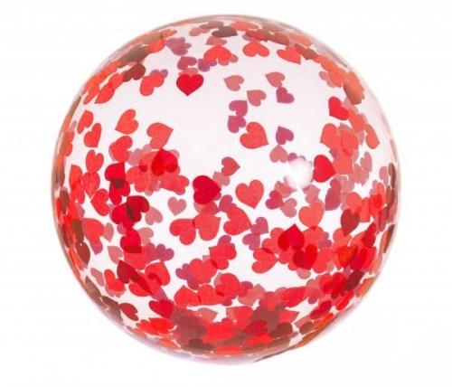 """19"""" Διάφανο μπαλόνι γεμισμένο με Κόκκινες Καρδιές κονφετί"""