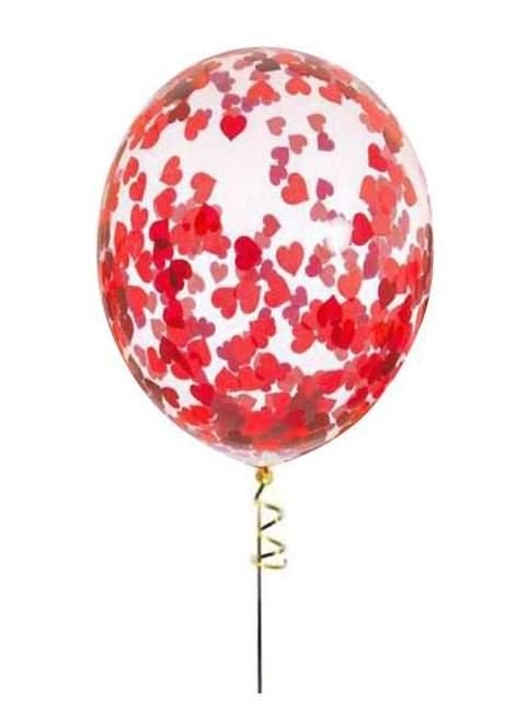 """13"""" Διάφανο μπαλόνι με Kόκκινες Kαρδιές κονφετί"""