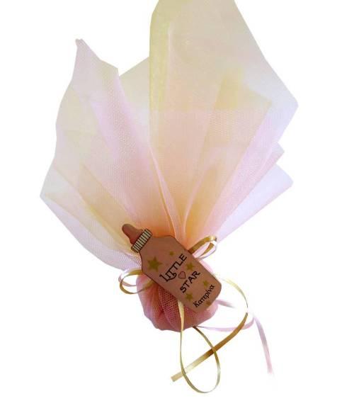 Μπομπονιέρα πουγκί από ροζ χρυσό τούλι και ξύλινο μπιμπερό