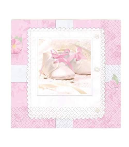 Ροζμικρές χαρτοπετσέτες με παιδικά παπουτσάκια (16 τεμ)